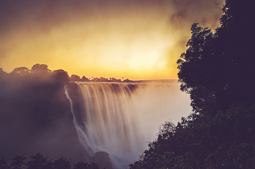 The Victoria Falls in flood at sunrise in April 2018 Victoria Falls Zimbabwe Africa