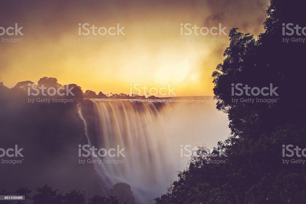 Victoria Falls Sunrise Long Exposure stock photo