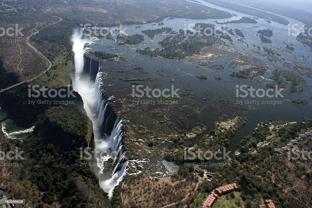 Victoria Falls Zimbabwe aerial view stock photo