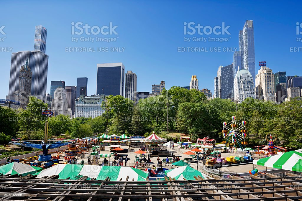 Victoria Gardens with skyscrapers of Central Park in New York stock photo