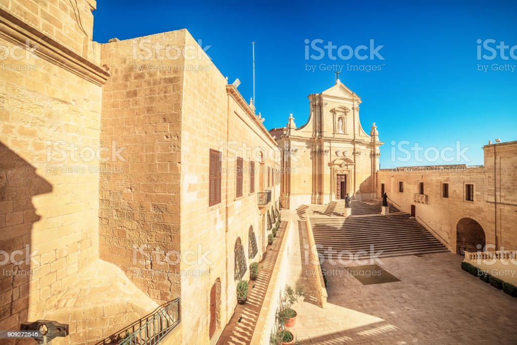 Victoria, Gozo island, Malta: Cathedral of the Assumption in the Cittadella stock photo