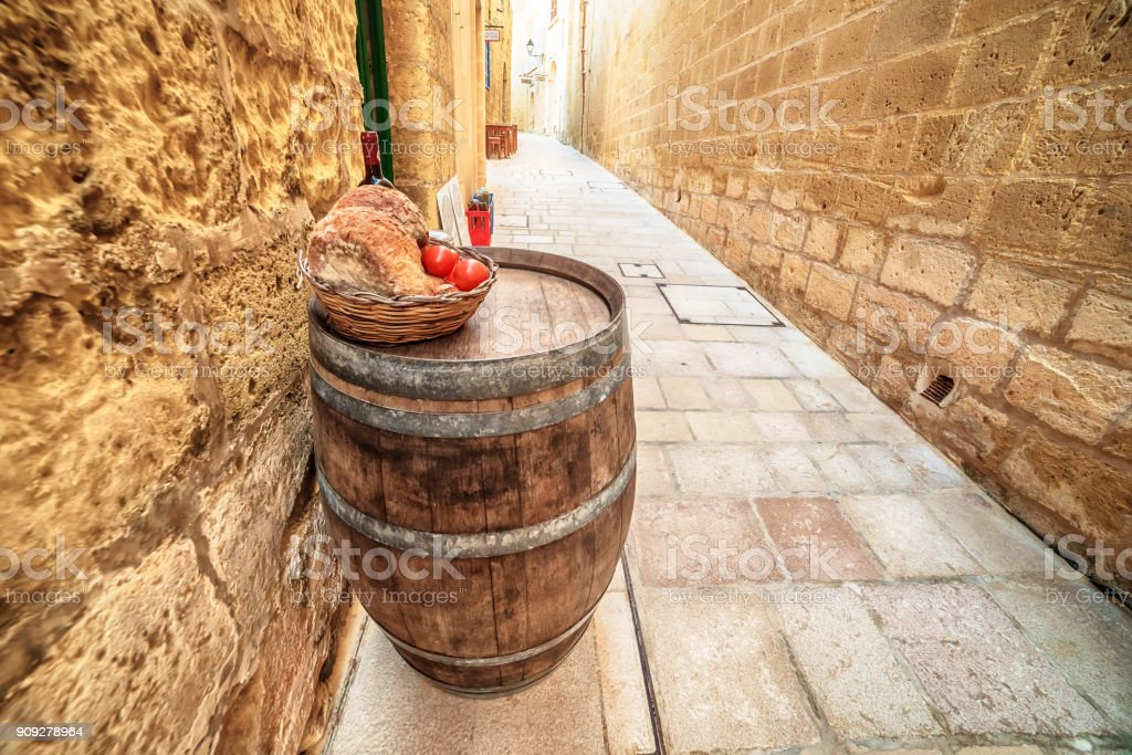 Victoria, Gozo island, Malta: medieval food in the Cittadella stock photo