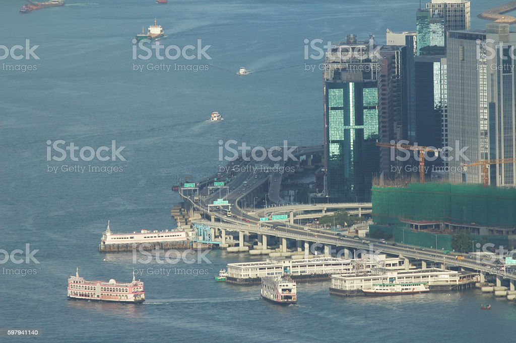 Victoria Harbor aerial view and skyline foto royalty-free