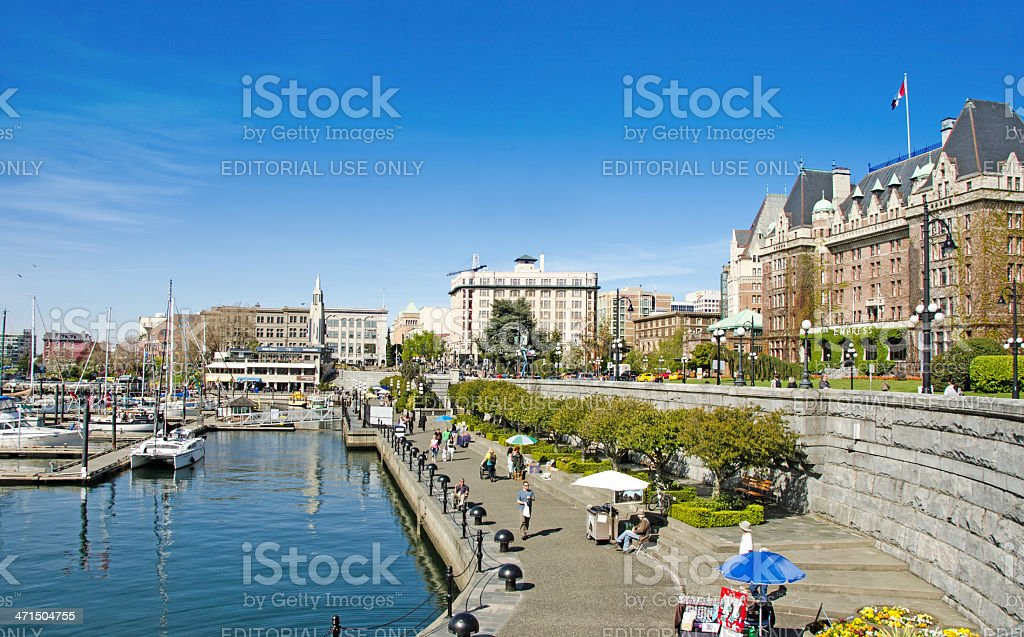 Victoria Harbor and Empress Hotel stock photo