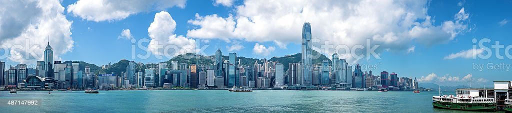 Victoria Harbor and Hong Kong Island Panoramas stock photo