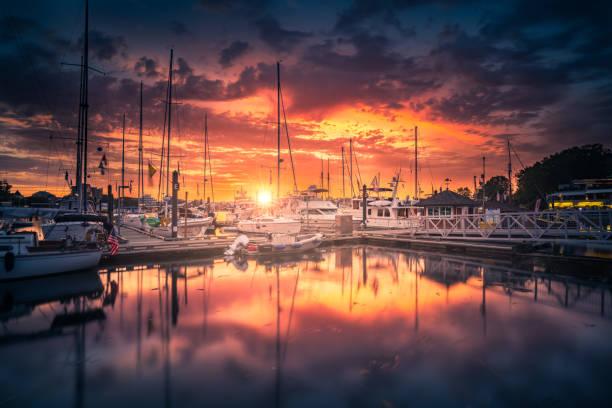Victoria Harbor sunset stock photo