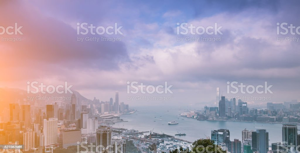 Victoria Harbour and modern architecture,Hong Kong stock photo