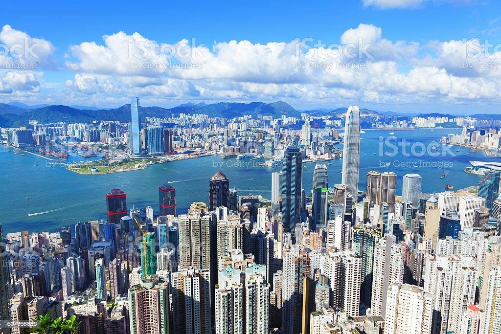 Victoria Harbour, Hong Kong, shot from the Peak stock photo