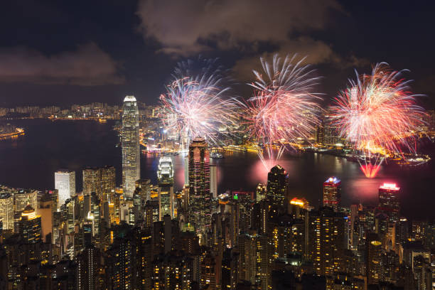 Victoria Harbour with fireworks stock photo