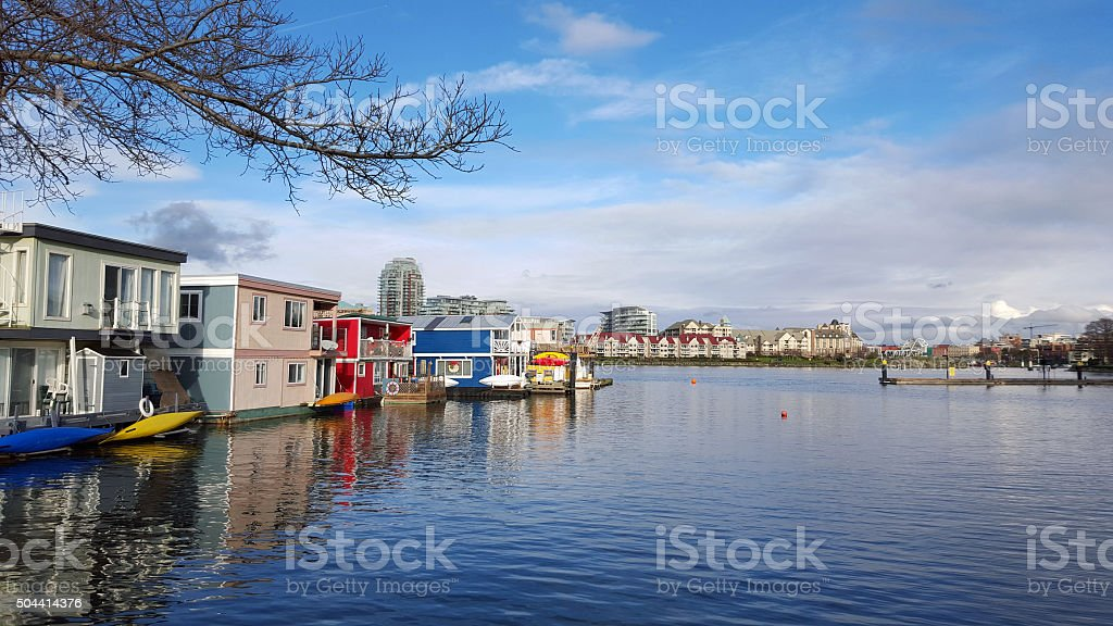 Victoria Harbour With Float Homes And Condos stock photo