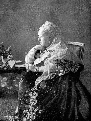 Portrait of Victoria I, Queen of England (1819 - 1901). Vintage etching photo circa late 19th century.