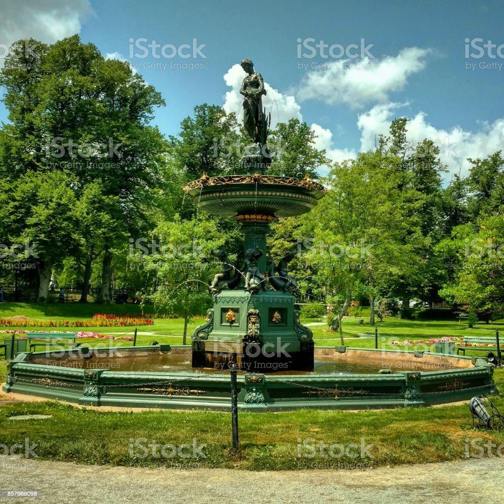 Victoria Jubilee Fountain in the Halifax Public Gardens stock photo