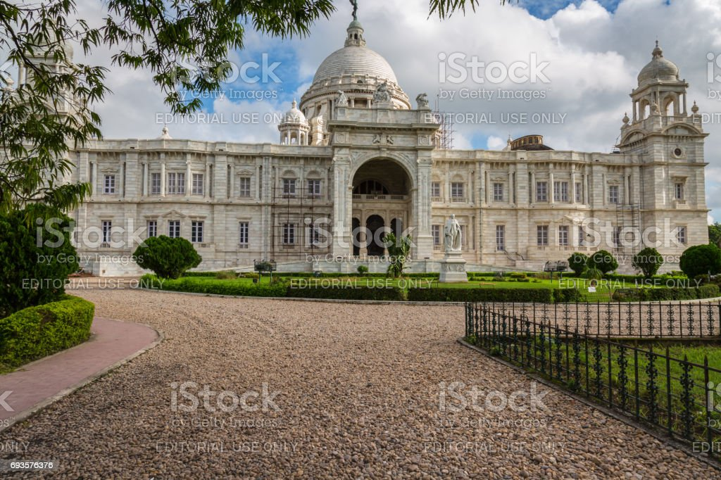 Victoria Memorial architecture monument and museum built in the memory of Queen Victoria at Kolkata India. stock photo