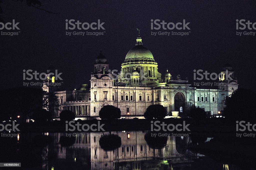 Victoria Memorial at nght. stock photo