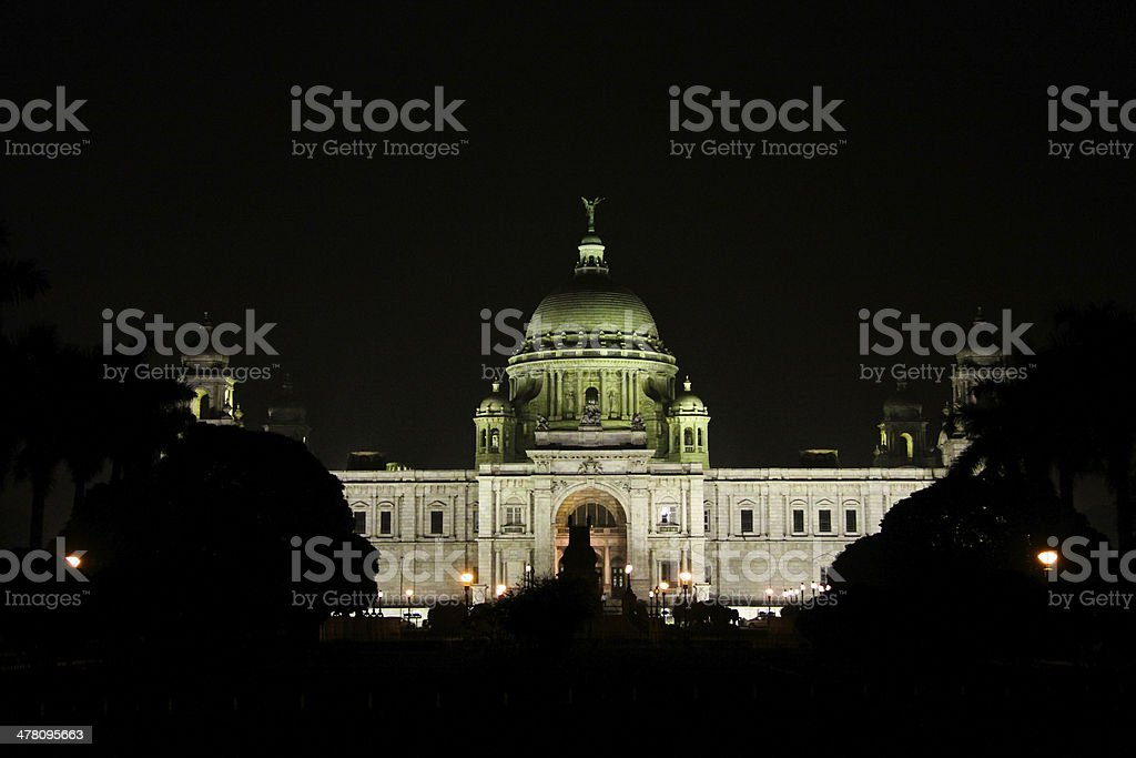 Victoria Memorial at night from Main Gate stock photo