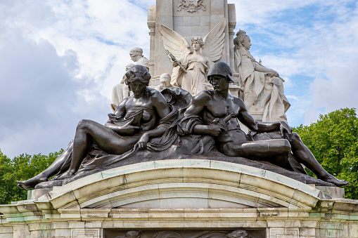 London, United Kingdom - 27 July  2021: Victoria memorial in front of Buckingham Palace, designed and executed by the sculptor (Sir) Thomas Brock and unveiled on 16 May 1911