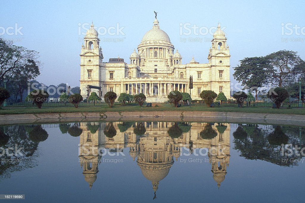 Victoria Memorial dawn reflection, Kolkata (Calcutta), India stock photo