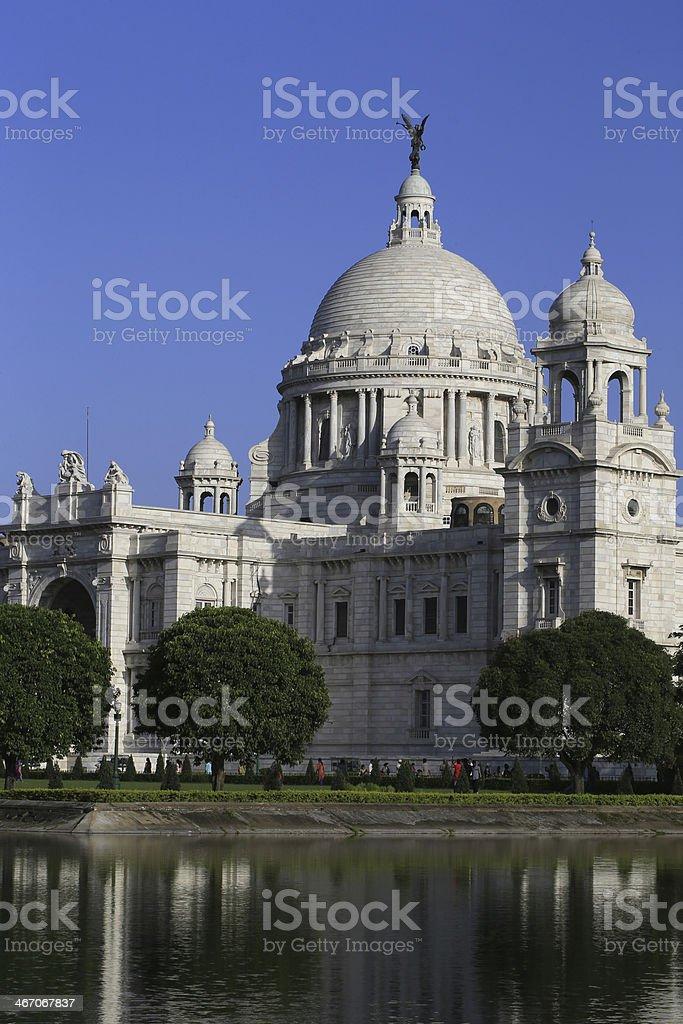 Victoria Memorial with reflection, Kolkata. stock photo