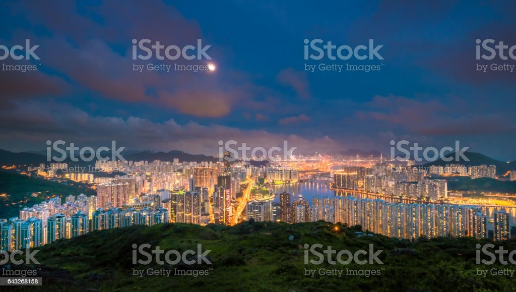 Victoria peak, victoria harbor, Hongkong stock photo