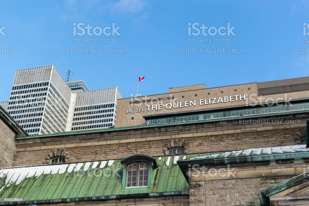 Victoria place one skyscraper and The Queen Elizabeth Hotel in Montreal stock photo