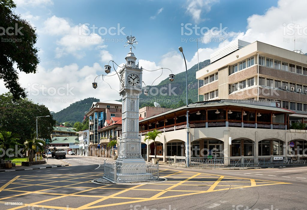 Victoria, Seychelles intersection with Clock Tower stock photo