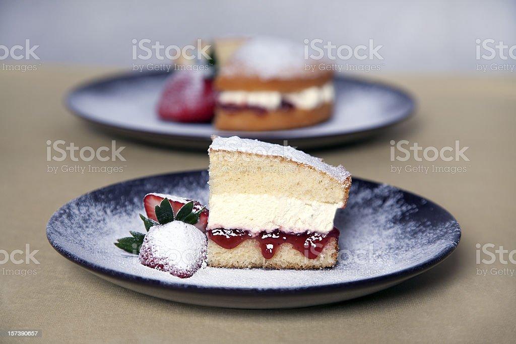 Victoria Sponge Cake Jam Cream Strawberries stock photo