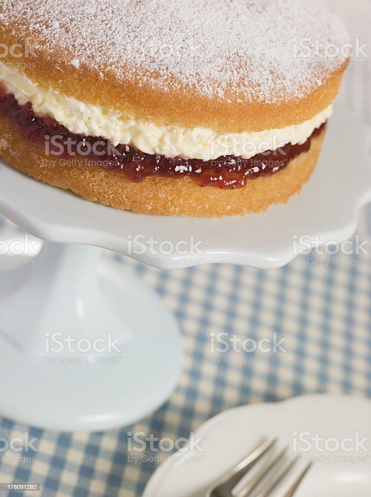 Victoria Sponge on a Cake Stand royalty-free stock photo