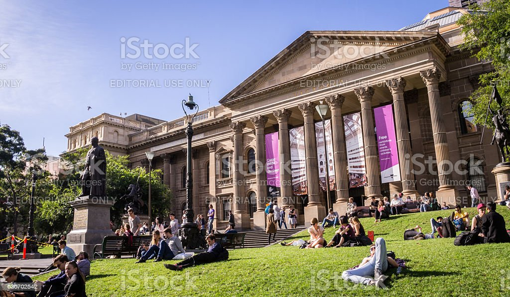 Victoria State Library in Melboure stock photo