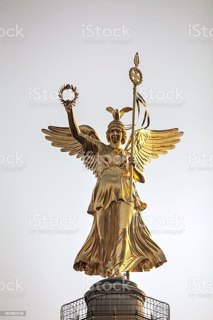 Victoria statue on top of the Victory column stock photo