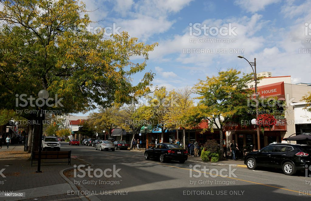 Victoria Street, Downtown Kamloops, British Columbia, Canada in Autumn stock photo