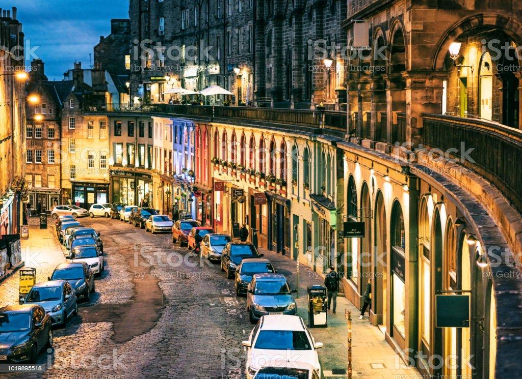 Victoria Street in Edinburgh's Old Town at night stock photo