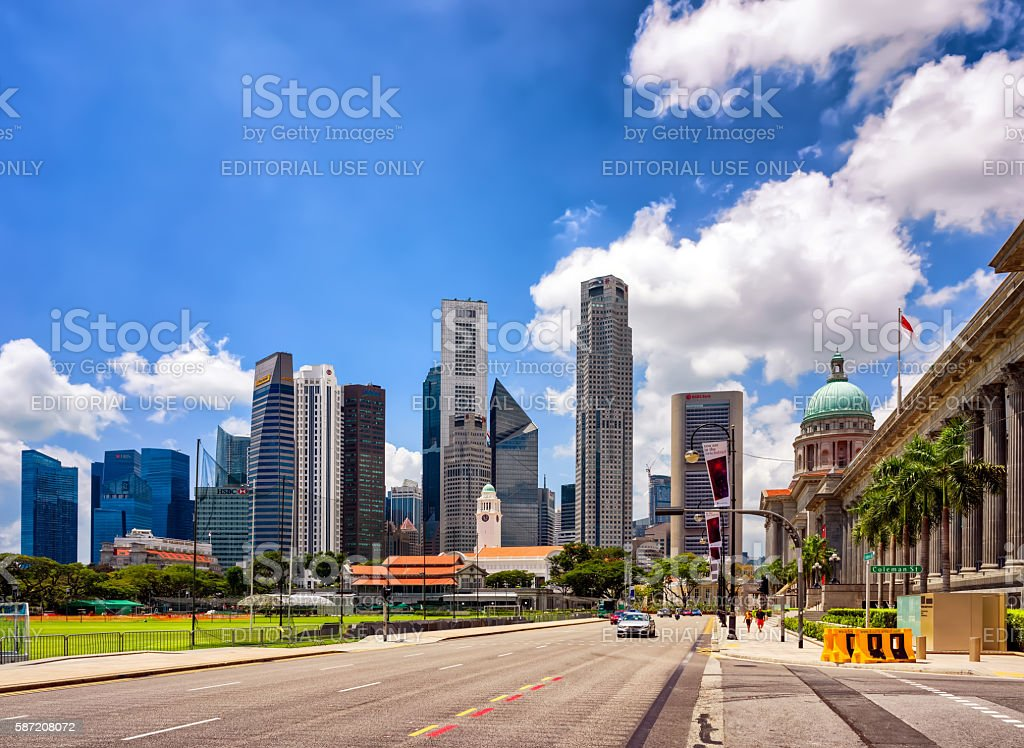 Victoria Theater and concert Hall and Supreme Court in Singapore stock photo