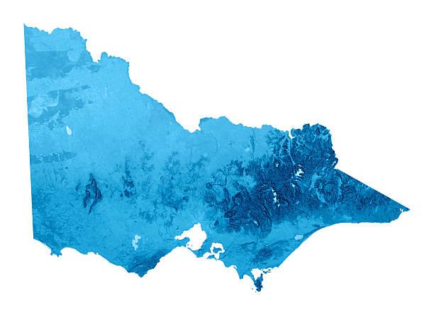 victoria mappa topografica isolato - victoria australia foto e immagini stock