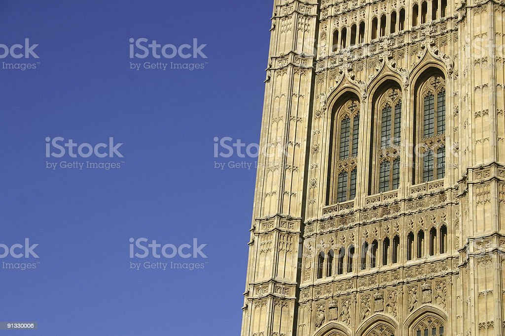 Victoria Tower at Houses of Parliament in London, England royalty-free stock photo