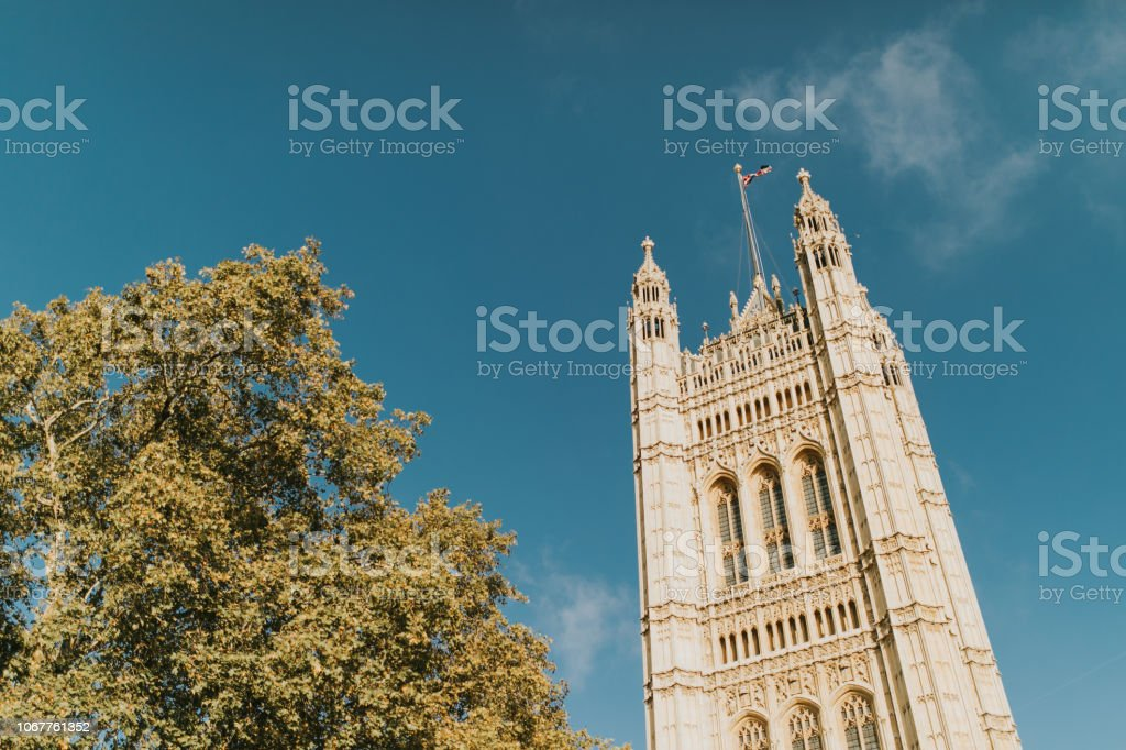 Victoria Tower, from Westminster Palace. London, United Kingdom. stock photo