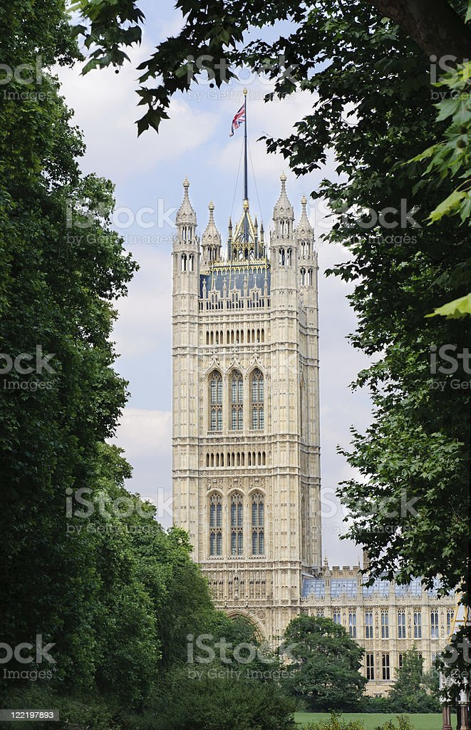 Victoria Tower, Houses of Parliament in London, UK royalty-free stock photo