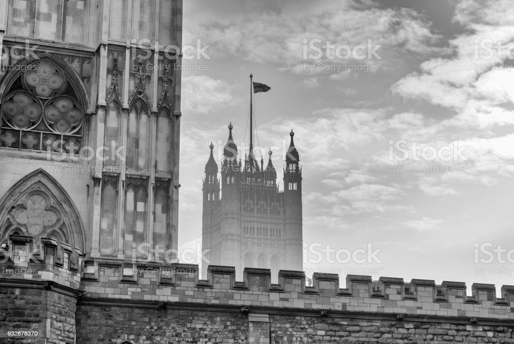 Victoria Tower of the Palace of Westminster in London stock photo