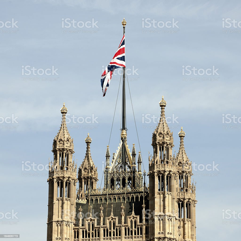 Victoria Tower with Union Jack London UK royalty-free stock photo