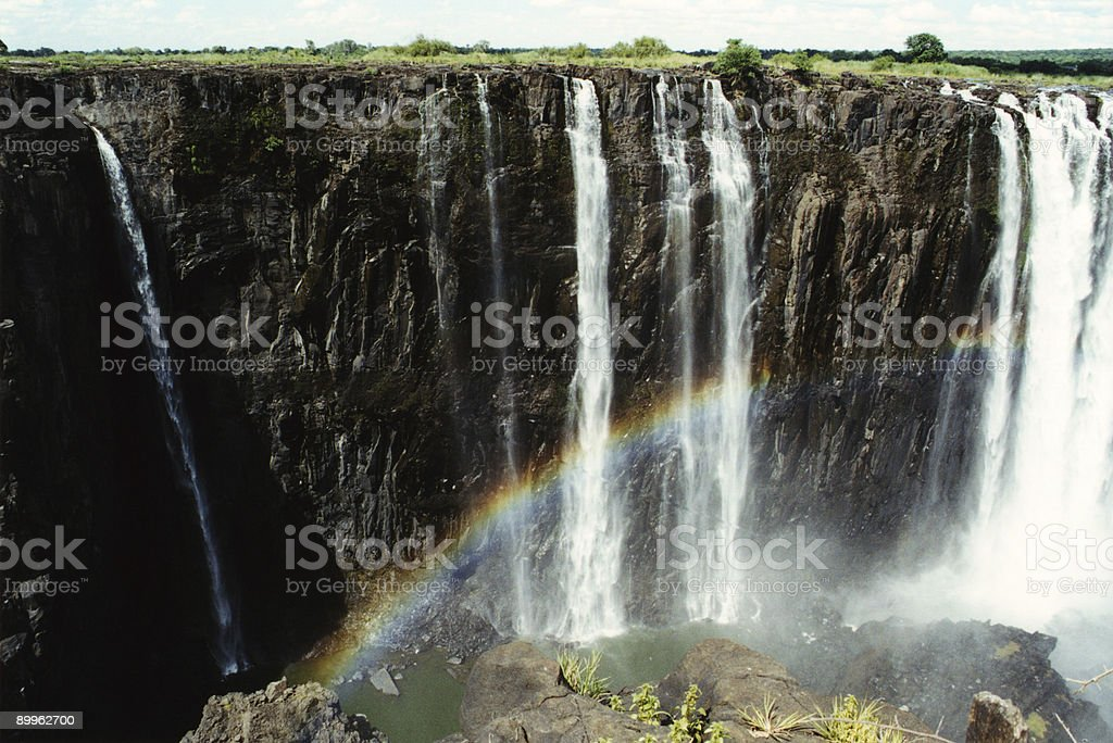 Victoria waterfalls rainbow royalty-free stock photo