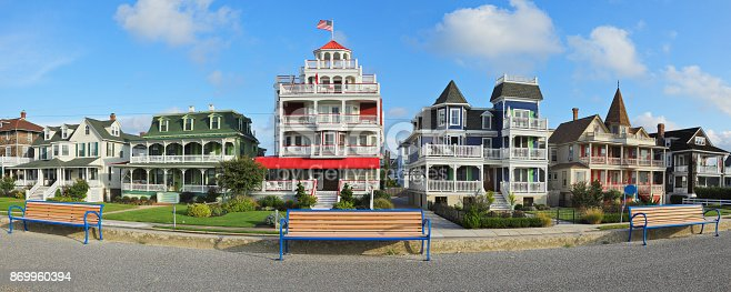 Victorian architecture along the promenade in the historic district of Cape May (New Jersey).