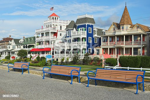 Victorian architecture along the promenade in the historic district of Cape May. Located at the southern tip of Cape May Peninsula, It is one of the country's oldest vacation destinations. The entire city (population 3,600) is designated as the Cape May Historic District because of its concentration of Victorian buildings.