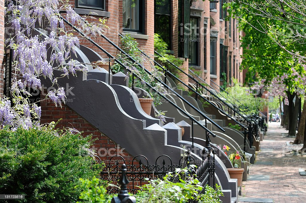 Victorian Architecture of Boston South End Residential District stock photo