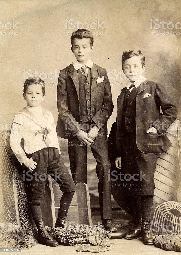 Victorian Boys - Three brothers portrait stock photo