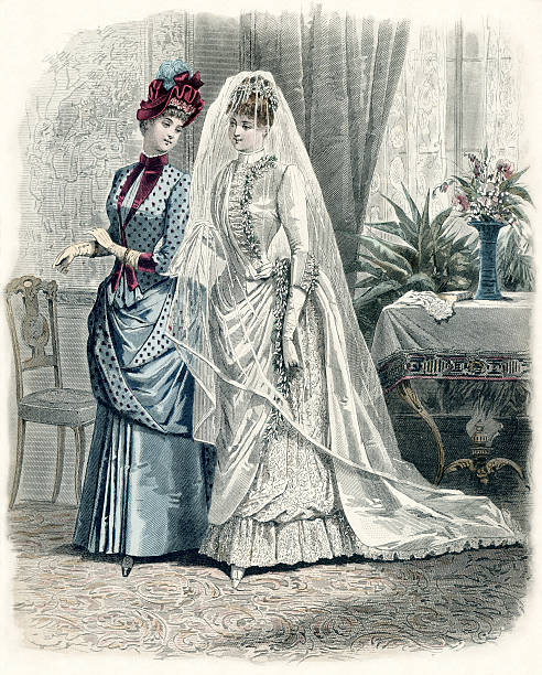 Victorian Bride Bridal Fashion illustration from French fashion magazine circa 1880.High resolution scan from my personal collection.Please see my 'Fashion Industry' lightbox for more like this and related images. 1880 stock pictures, royalty-free photos & images