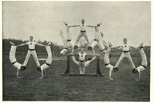 Vintage photograph of Victorian british army, Gymnastic team, Aldershot, 19th Century