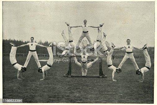 Vintage photograph of Victorian british army, Gymnastic team, Aldershot, 19th Century