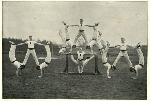 Victorian british army, Gymnastic team, Aldershot, 19th Century Vintage photograph of Victorian british army, Gymnastic team, Aldershot, 19th Century team work photos stock pictures, royalty-free photos & images