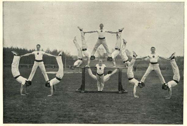 Victorian british army, Gymnastic team, Aldershot, 19th Century stock photo