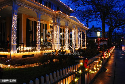 Cape May, NJ, USA December 12, 2009 Christmas lights adorned on Victorian homes create a cozy holiday feeling in Cape May, New Jersey