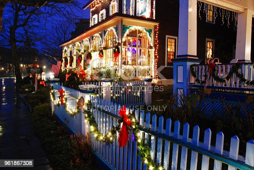 Cape May, NJ USA December 12, 2009 A Victorian home in Cape May, New Jersey is decorated for the Christmas  holiday